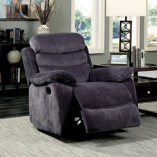 Furniture of America Reanold Transitional Grey Tufted Fabric Glider Recliner