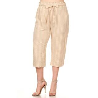 Xehar Women's Plus Size Casual Stripe Printed Capri Pants