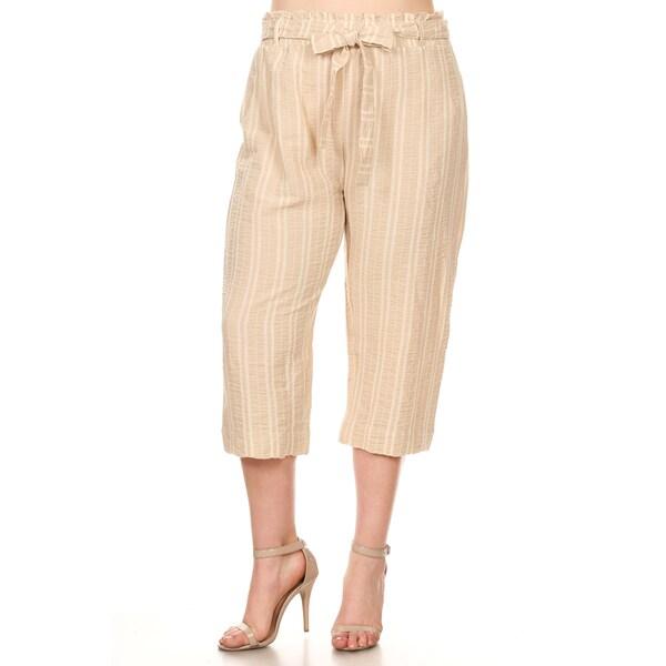 46337f95f85 Shop Xehar Women s Plus Size Casual Stripe Printed Capri Pants - On ...