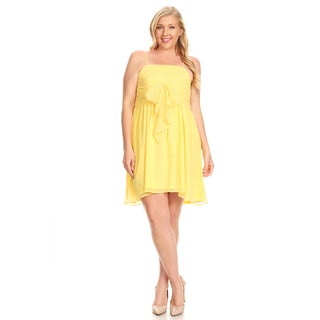 Xehar Women's Plus Size Sleeveless Ribbon Tie Dress