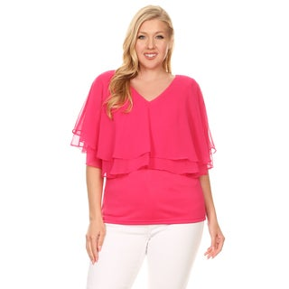 Xehar Women's Plus Size Double Layer Solid Blouse Top (3 options available)