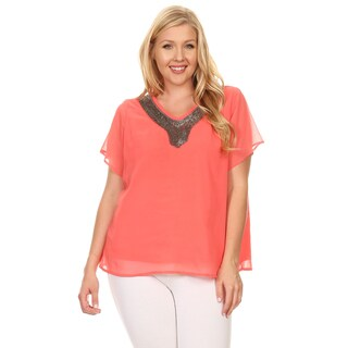 Xehar Women's Plus Size Casual Beaded Neckline Blouse Top
