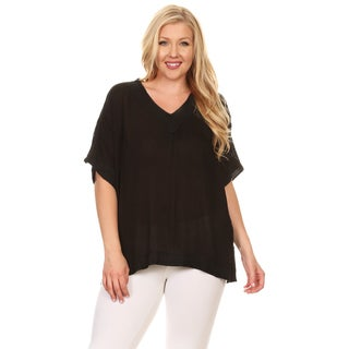 Xehar Women's Plus Size Kaftan Crochet Tunic Blouse Top