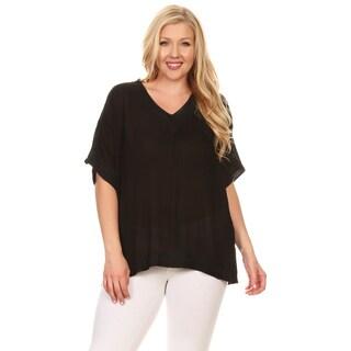Xehar Women's Plus Size Kaftan Crochet Tunic Blouse Top