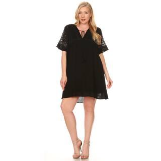 Xehar Women's Plus Size Loose Boho Lace Shift Dress|https://ak1.ostkcdn.com/images/products/16345362/P22705517.jpg?impolicy=medium