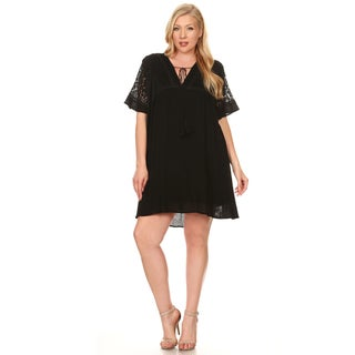 Xehar Women's Plus Size Loose Boho Lace Shift Dress