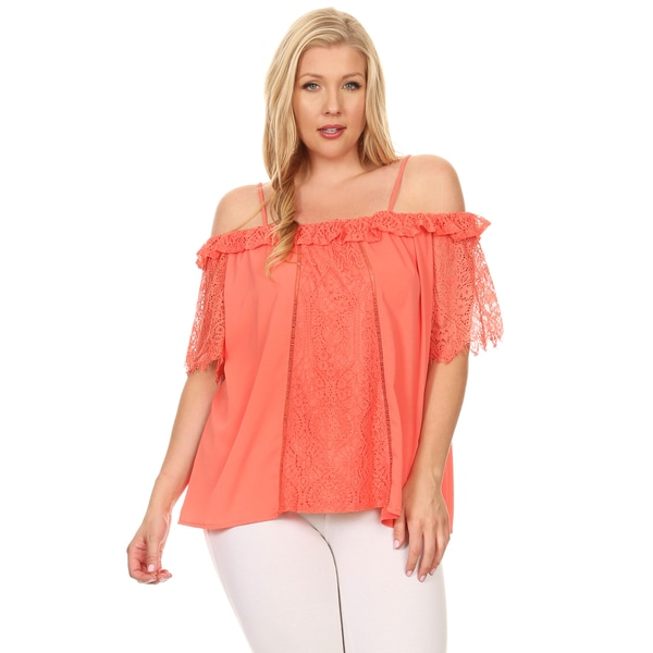 Shop Xehar Women S Plus Size Lace Contrast Cold Shoulder Blouse Top