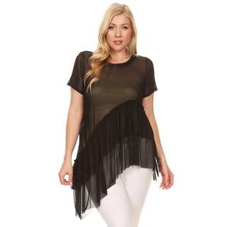 Xehar Women's Plus Size Mesh Ruffle Asymmetrical Tunic Blouse Top
