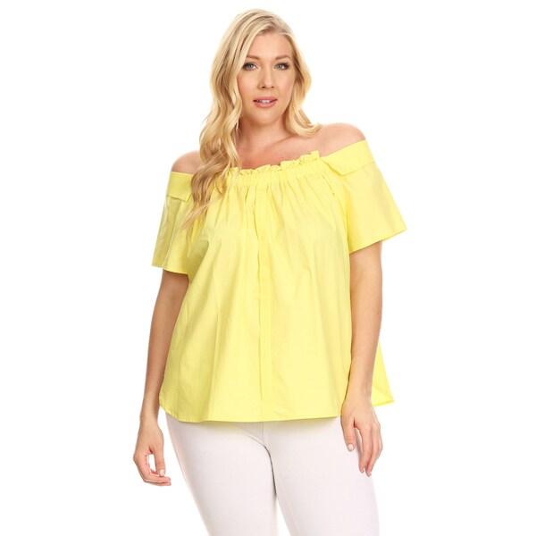 5cee0ebb0f9 Shop Xehar Women s Plus Size Ruffle Front Off Shoulder Blouse Top ...