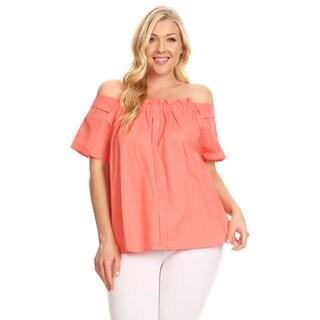 Xehar Women's Plus Size Ruffle Front Off Shoulder Blouse Top