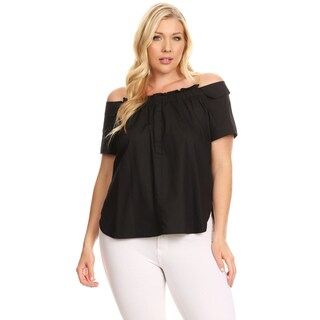 Xehar Women's Plus Size Ruffle Front Off Shoulder Blouse Top (2 options available)