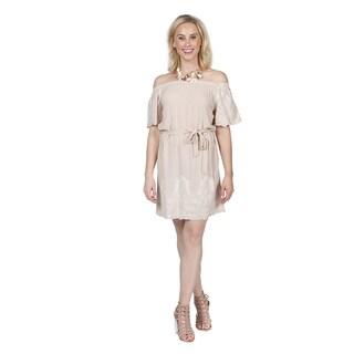 Xehar Women's Off Shoulder Embroidered Dress