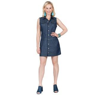 Xehar Women's Sleeveless Button Flap Denim Dress