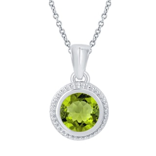 Sterling Silver Round Choice of Gemstone Solitaire Pendant Necklace
