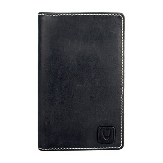 Hidesign Black Leather Camel Stitch RFID Blocking Passport Wallet