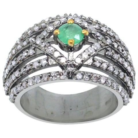 Orchid Jewelry Emerald & Diamond Blackened Sterling Silver Pave Engagement Ring