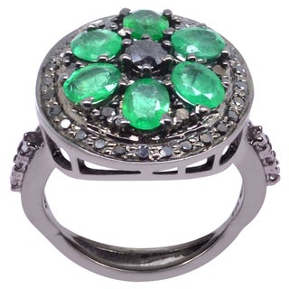 Orchid Jewelry Emerald & Diamond Blackened Sterling Silver Vintage Ring