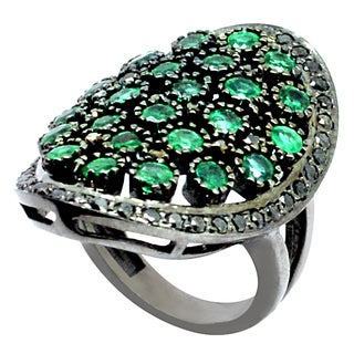Orchid Jewelry Emerald & Diamond Blackened Sterling Silver Accent Wedding Ring
