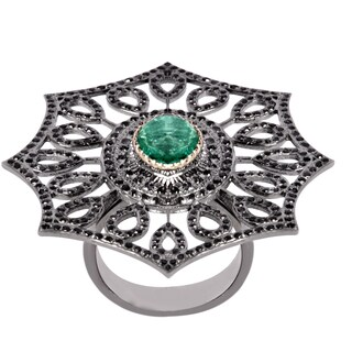 Orchid Jewelry Genuine Emerald & Diamond Pave Set Sterling Silver Ring