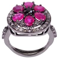 Orchid Jewelry 3 2/7 Carat Ruby & Pave Diamond Blackened Sterling Silver Flower Ring