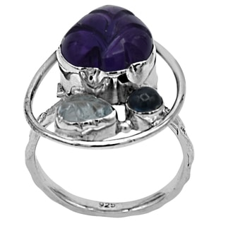 Orchid Jewelry Amethyst, Aquamarine & Sapphire 925 Sterling Silver Ring