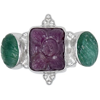Orchid Jewelry Ruby & Emerald 925 Sterling Silver Gemstone Bridal Ring