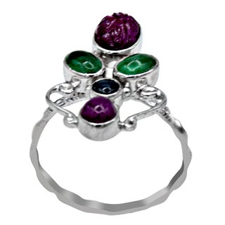 Orchid Jewelry 4 1/4 Carat Ruby, Emerald & Sapphire 925 Sterling Silver Ring