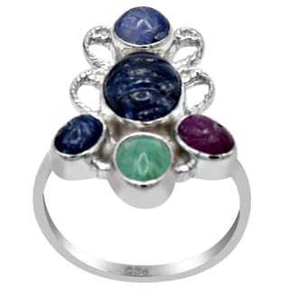 Orchid Jewelry Sapphire, Emerald, Ruby & Tanzanite 925 Sterling Silver Ring