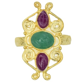 Orchid Jewelry 2 2/3 Carat Emerald & Ruby 14k Gold Over Silver Ring