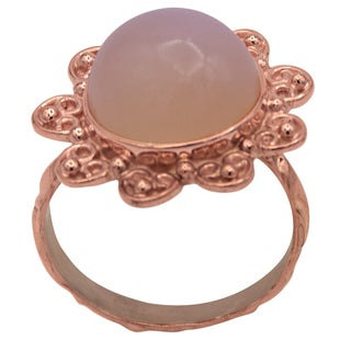 Orchid Jewelry 11 4/7 Carat Moonstone Rose Gold Over Silver Ring