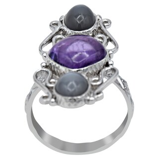 Orchid Jewelry 7 1/2 Carat Amethyst & Grey Moonstone 925 Sterling Silver Designer Ring