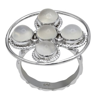 Orchid Jewelry 4 6/7 Carat Moonstone 925 Sterling Silver Cross Ring