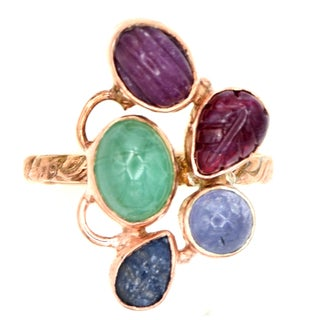 Orchid Jewelry Emerald, Ruby, Sapphire & Tanzanite Rose Gold Over Silver Ring