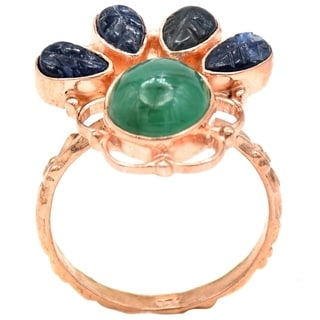 Orchid Jewelry 6 Carat Emerald & Sapphire Rose Gold Over Silver Ring