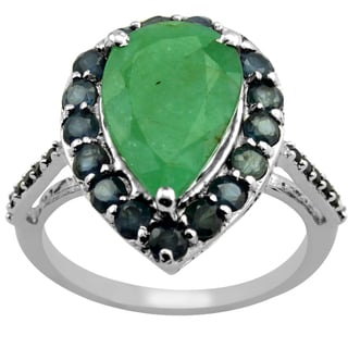 Orchid Jewelry 5 1/4 Carat Emerald, Sapphire & Spinel 925 Sterling Silver Ring