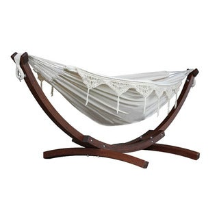 Vivere Home Double Cotton and Solid Pine Arc Hammock Combo