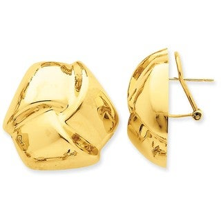14 Karat Polished Knot Omega Back Post Earrings