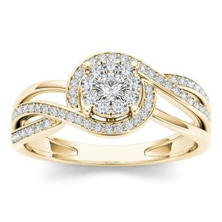 De Couer 1/4ct TDW Diamond Bypass Cluster Ring (H-I, I2) - Yellow