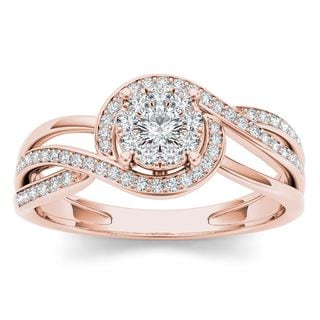 De Couer 1/4ct TDW Diamond Bypass Cluster Ring (H-I, I2)