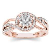 De Couer 1/4ct TDW Diamond Bypass Cluster Ring (H-I, I2) - Pink
