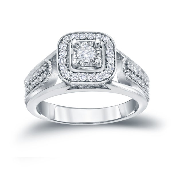 Auriya 14k 1/2ct TDW Halo Diamond Engagement Ring (H-I, I1-I2)