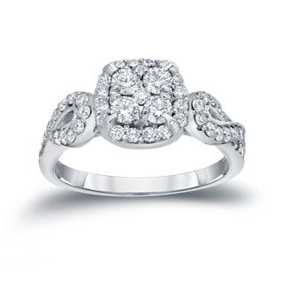 Auriya 14k Gold 1ct TDW Halo Cluster Diamond Engagement Ring (H-I, I1-I2)