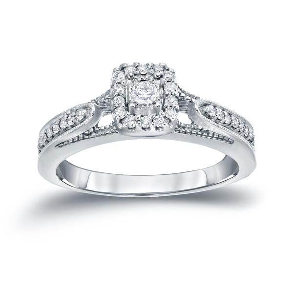 Auriya 14k Gold 1/4ct TDW Halo Diamond Engagement Ring (H-I, I1-I2)