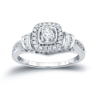 Auriya 14k Gold 2/5ct TDW Halo Diamond Engagement Ring (H-I, I1-I2)