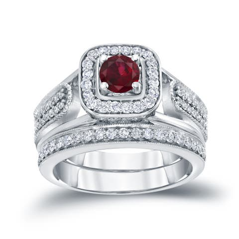 14k Gold 1/6ct Ruby and 1/2ct TDW Halo Diamond Engagement Ring Set