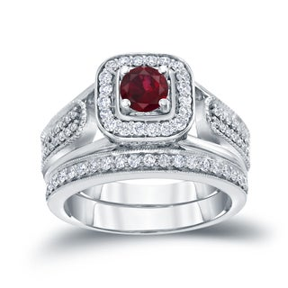 14k Gold 1 6ct Ruby And 1 2ct TDW Halo Diamond Engagement Ring Set