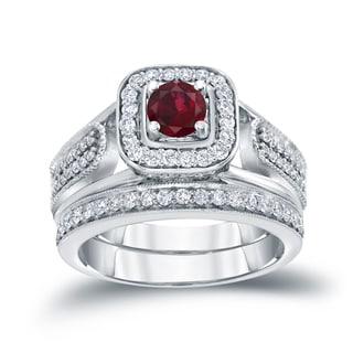 Auriya 14k Gold 1/6ct Ruby and 1/2ct TDW Diamond Bridal Ring Set (H-I, I1-I2)