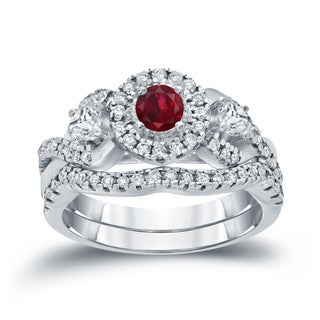 14k Gold 1/5ct Ruby and 3/5ct TDW Diamond Braided Infinity Engagement Ring Set