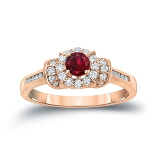 Auriya 14k Gold 1/4ct Ruby and 1/4ct TDW Diamond Bridal Ring Set (H-I, I1-I2)
