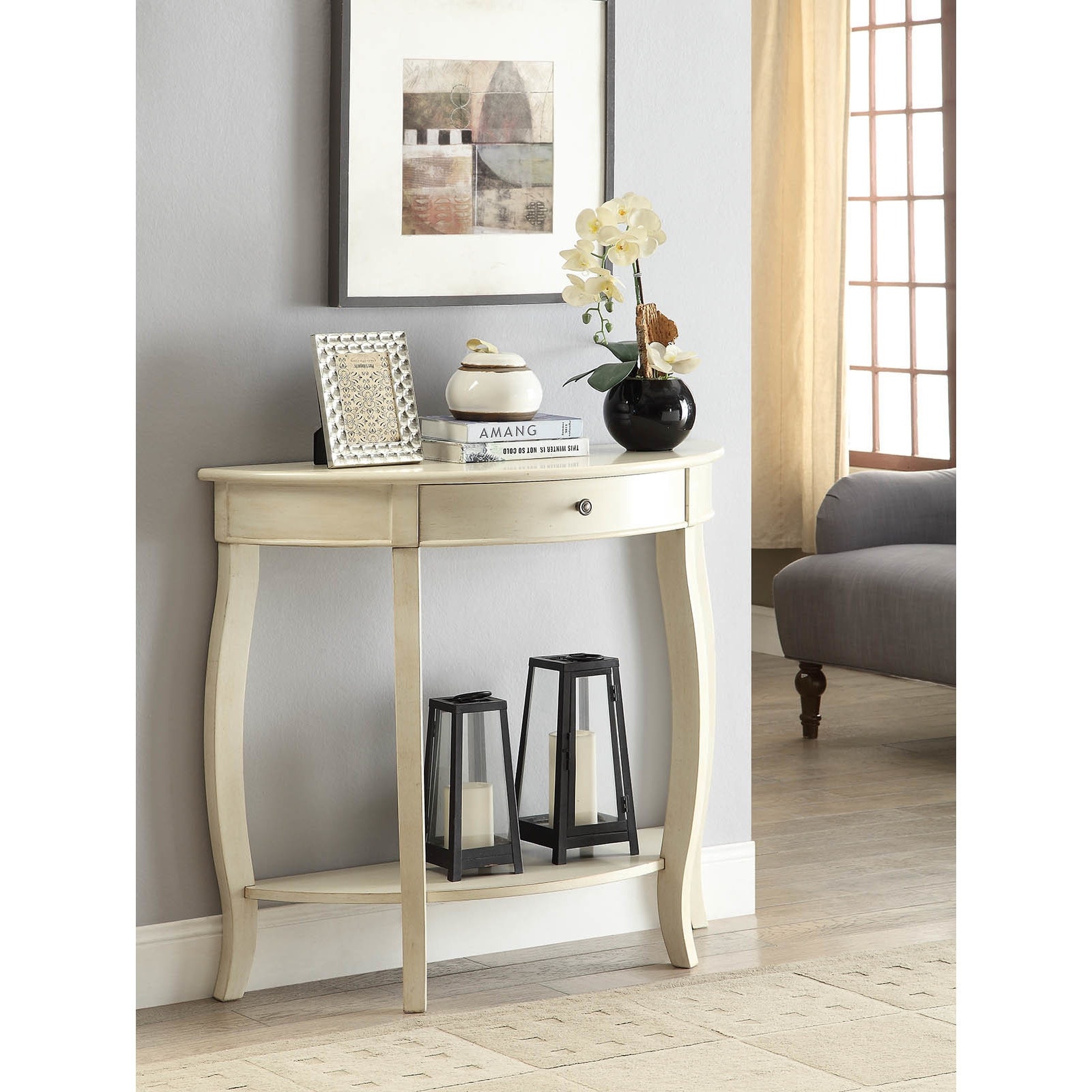 Yvonne Half Moon Console Table With Drawer In Antique Whi.